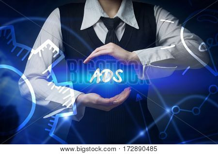 Business, Technology, Internet And Networking Concept. Business Woman Chooses Icon - Ads