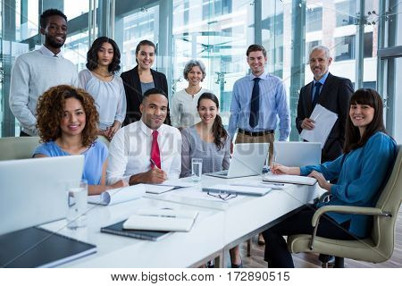 Portrait of smiling business people in office