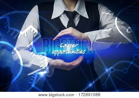 Business, Technology, Internet And Networking Concept. Business Woman Chooses Icon - Career Opportun