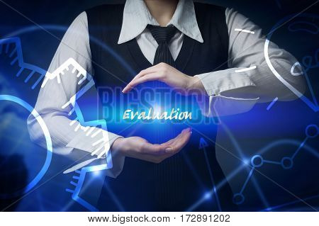 Business, Technology, Internet And Networking Concept. Business Woman Chooses Icon - Evaluation