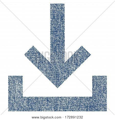 Inbox vector textured icon for overlay watermark stamps. Blue jeans fabric vectorized texture. Symbol with dust design. Blue ink rubber seal stamp with fiber textile structure.
