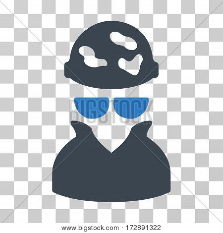 Spotted Spy vector pictograph. Illustration style is flat iconic bicolor smooth blue symbol on a transparent background.