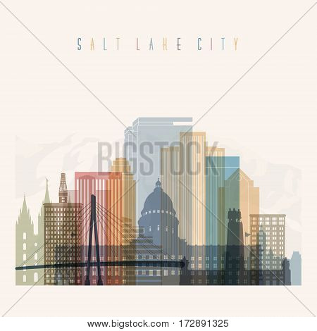 Transparent style Salt Lake City state Utah skyline detailed silhouette. Trendy vector illustration.