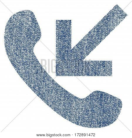 Incoming Call vector textured icon for overlay watermark stamps. Blue jeans fabric vectorized texture. Symbol with unclean design. Blue ink rubber seal stamp with fiber textile structure.