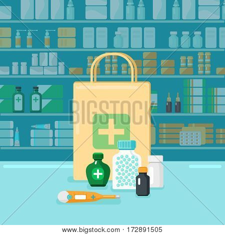 Colored flat pharmacy concept with buying in firm package on background of shop windows with medications vector illustration