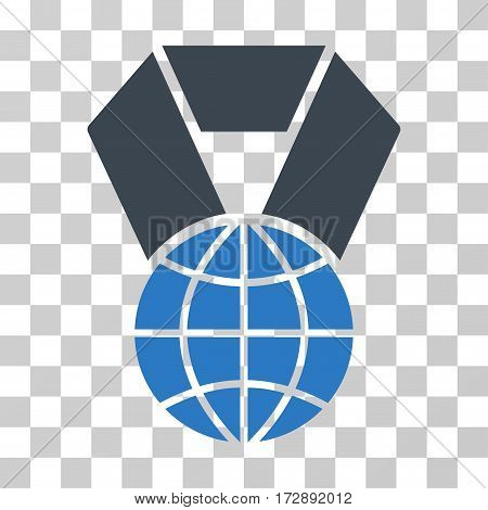World Award vector icon. Illustration style is flat iconic bicolor smooth blue symbol on a transparent background.