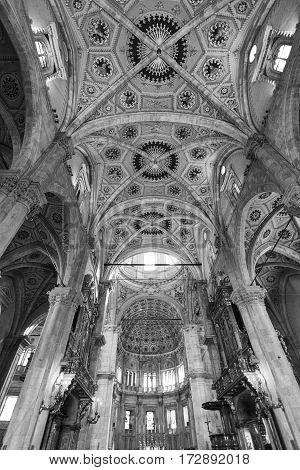 COMO, ITALY - JUNE 27, 2016: Como (Lombardy Italy): interior of the medieval cathedral built from 1396 to 1770. Black and white