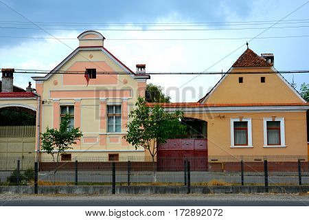 Typical houses in the village Vulcan (German: Wolkendorf), commune in Braşov County in the centre of Romania, 16 km west of the county capital Braşov
