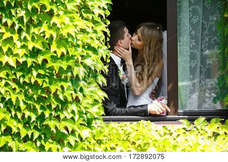 A View Through An Ivy On A Wedding Couple Kissing In A Window