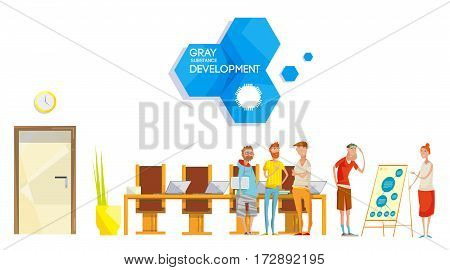 Flat composition with software engineering company project meeting in office with employee characters and corporate logo vector illustration