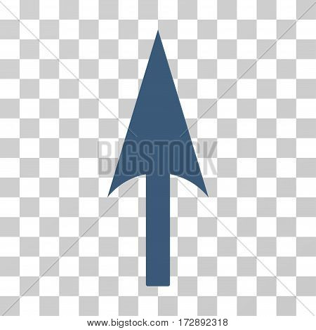 Arrow Axis Y vector pictograph. Illustration style is flat iconic blue symbol on a transparent background.