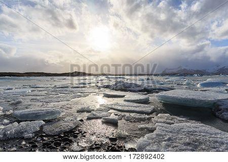 vatnajokull Glacier Jokulsarlon lagoon in southern Iceland