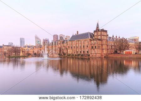 Binnenhof Palace in The Hague (Den Haag) at sunset Netherlands