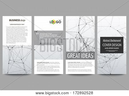 Flyers set, modern banners. Business templates. Cover design template, easy editable abstract vector layouts. Compounds lines and dots. Big data visualization in minimal style. Graphic communication background.