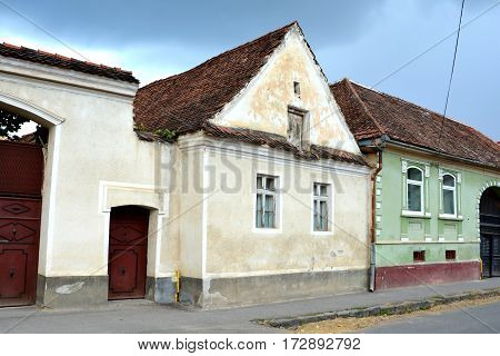 Typical houses in the village Vulcan (German: Wolkendorf), a commune in Braşov County in the centre of Romania, 16 km west of the county capital Braşov.