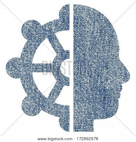 Intellect vector textured icon for overlay watermark stamps. Blue jeans fabric vectorized texture. Symbol with dirty design. Blue ink rubber seal stamp with fiber textile structure.