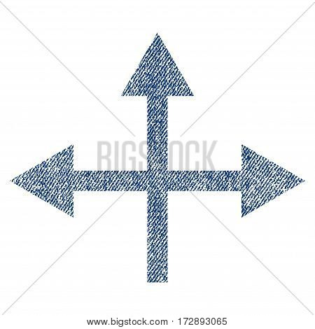 Intersection Directions vector textured icon for overlay watermark stamps. Blue jeans fabric vectorized texture. Symbol with scratched design. Blue ink rubber seal stamp with fiber textile structure.