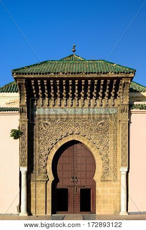 The main gate to the tomb Moulay Ismail Mausoleum Meknes Morocco