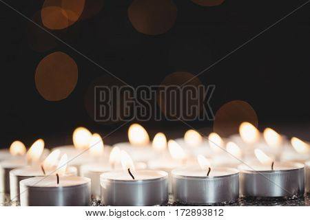 Candles burning bright during christmas time