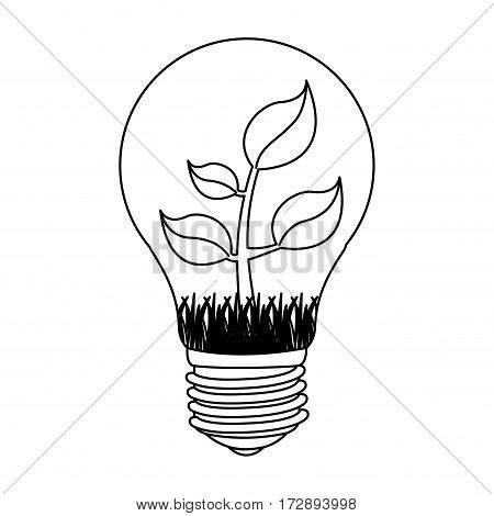 contour bulb with plant inside icon, vector illustration design image