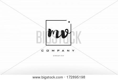Mv M V Hand Writing Letter Company Logo Icon Design