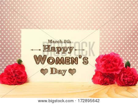 Happy Womens Day March 8Th Message Card With Flowers