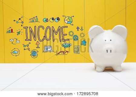 Income Text With Piggy Bank