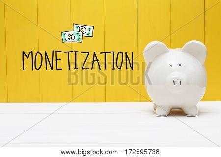 Monetization Text With Piggy Bank