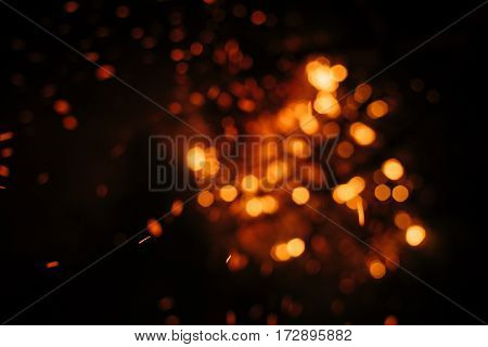 fire in nature. Bokeh from the fire. Blurred backgrounds. Space views.