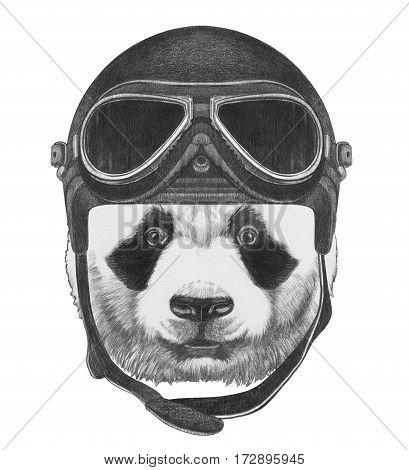 Portrait of Panda with Vintage Helmet. Hand drawn illustration.