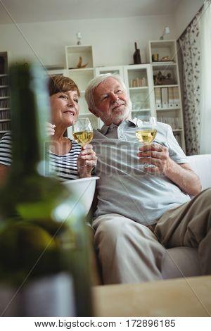 Senior couple sitting on sofa and having glasses of wine in living room
