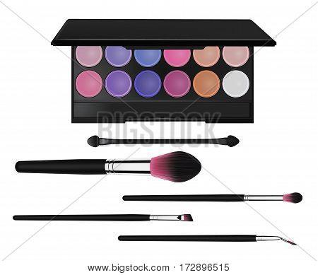 colorful eyeshadow palette, mascara brush, make-up brush and lipstic.