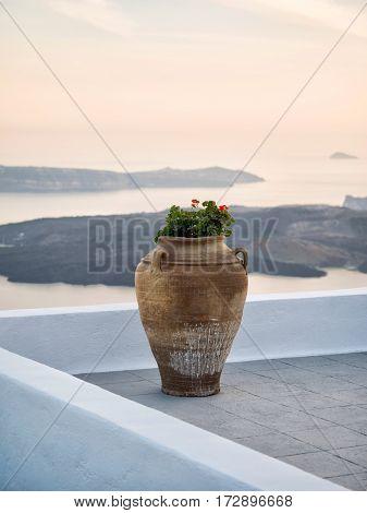 Pot In Santorini Island