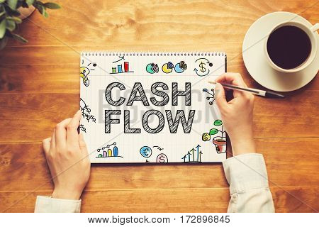Cash Flow Text With A Person Holding A Pen