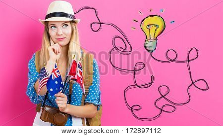 Light Bulb With Young Woman With Flags