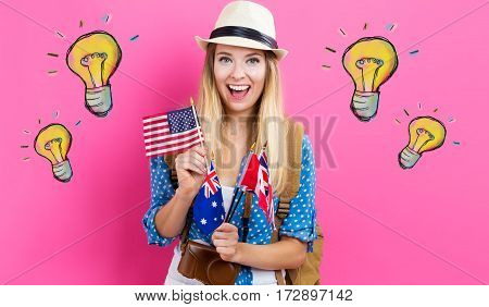 Light Bulbs Illustration With Young Woman With Flags