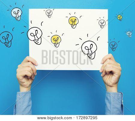 Light Bulbs On White Poster