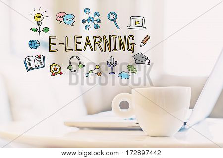 E-learning Concept With A Cup Of Coffee