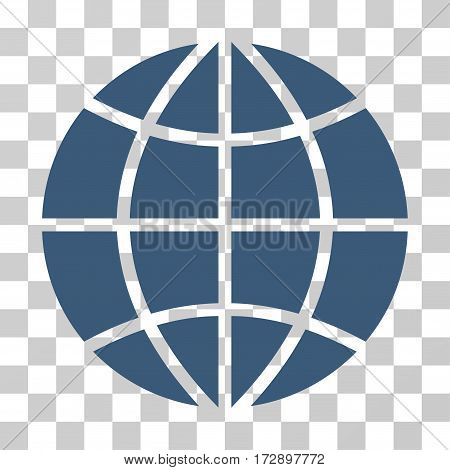 Planet Globe vector pictogram. Illustration style is flat iconic blue symbol on a transparent background.