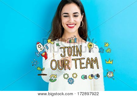Join Our Team Text With Young Woman