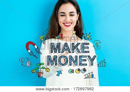 Make Money Text With Young Woman