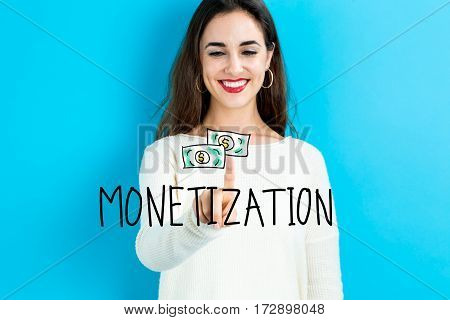 Monetization Text With Young Woman