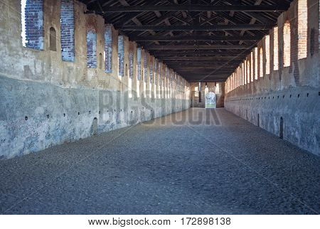 View of the famous Covered Street in Vigevano (Lombardy, Northern Italy), built from a project by Leonardo da Vinci. Color image.