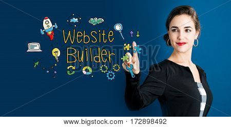 Website Builder Text With Business Woman