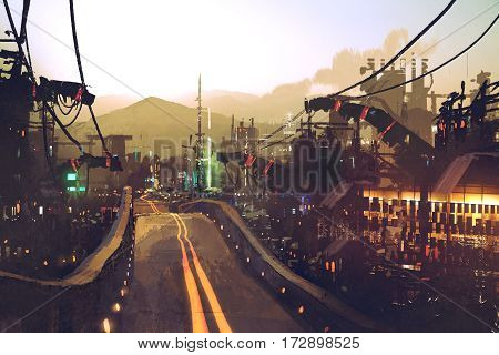 sci-fi scenery of highway street on futuristic city with structures and buildings at sunset, illustration painting