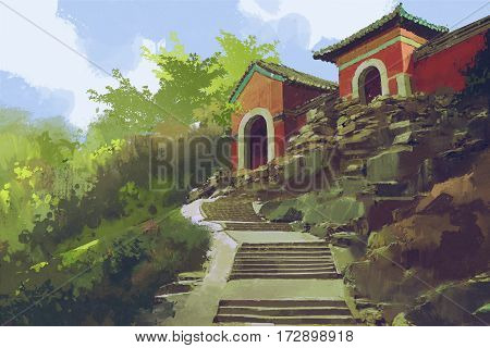 beautiful scenery of stone stairway to the ancient buildings on the hill, illustration painting