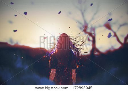 rear view of woman with cracked effect on her body looking the sunrise, illustration painting