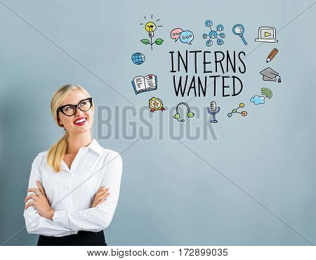 Interns Wanted Text With Business Woman