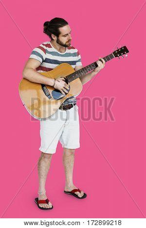 Man Playing Guitar Music Instrument Entertainment