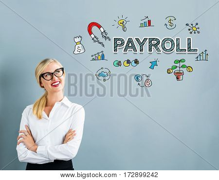 Payroll Text With Business Woman
